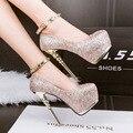 Высокие каблуки сексуальные насосы серебряные свадебные туфли женщины золотые каблуки туфли на платформе шипованных каблуки вечеринок обувь женская каблуки D936