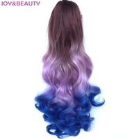 JOY BEAUTY High Temperature Fiber Synthetic Long Wavy Ponytail Ombre Color 22 Claw Clip On Hair