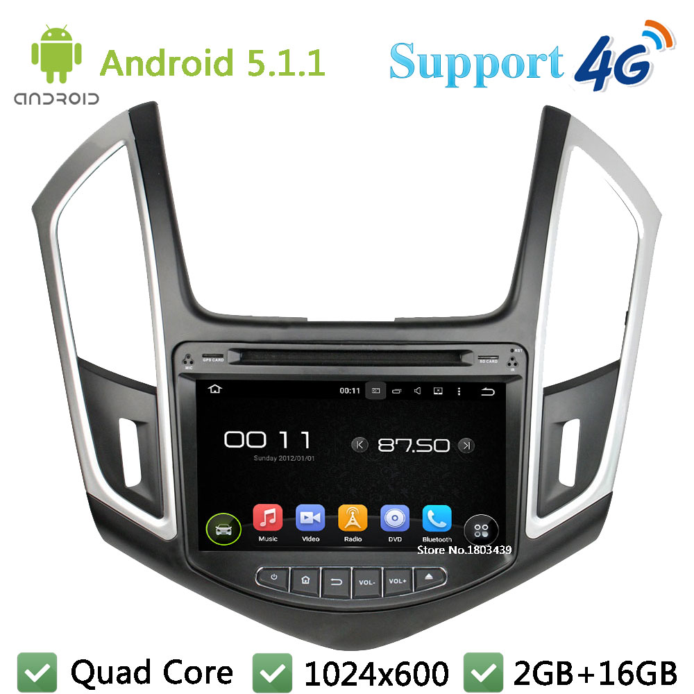 Quad Core 1024*600 Android 5.1.1 Car Multimedia DVD Player Screen Radio Stereo DAB+ 3G/4G WIFI GPS Map For Chevrolet Cruze 2015