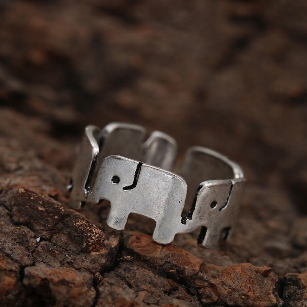 Wholsale 10pcs New Style Retro Silver Tone Elephant Band Ring Animal  Woodland Forest Nature Funny Ring Fashion For Women 2015