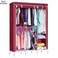 Practical Modern Style Clothing Storage Organization Wardrobe DIY Non-woven Cabinet Clothing Closet Red Wine