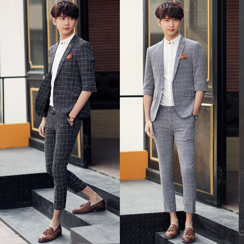 2017 Colete Social Suits Mens Summer Smoking Jackets Mens Plaid ...