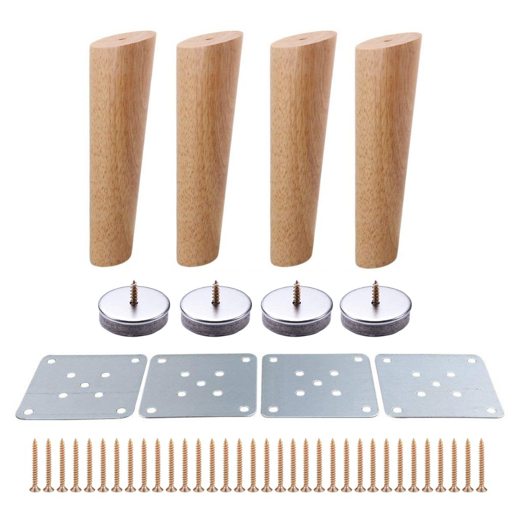 4pcs 200mm Height Wooden Furniture Legs Oblique Tapered Reliable Sofa Table Feet Couch Dresser Armchair Foot Oak Wood More Gift