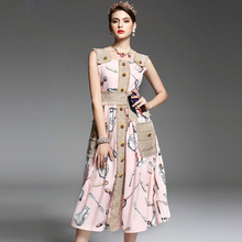 2017 Spring Summer New Runway Dress Womens Spaghetti Strap Vest Button Beading Cotton and Linen Pockets Vintage Retro Dress