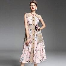 2017 봄 여름 새로운 활주로 드레스 여성 스파게티 스트랩 조끼 단추 구슬 면화와 리넨 포켓 빈티지 복고풍 드레스