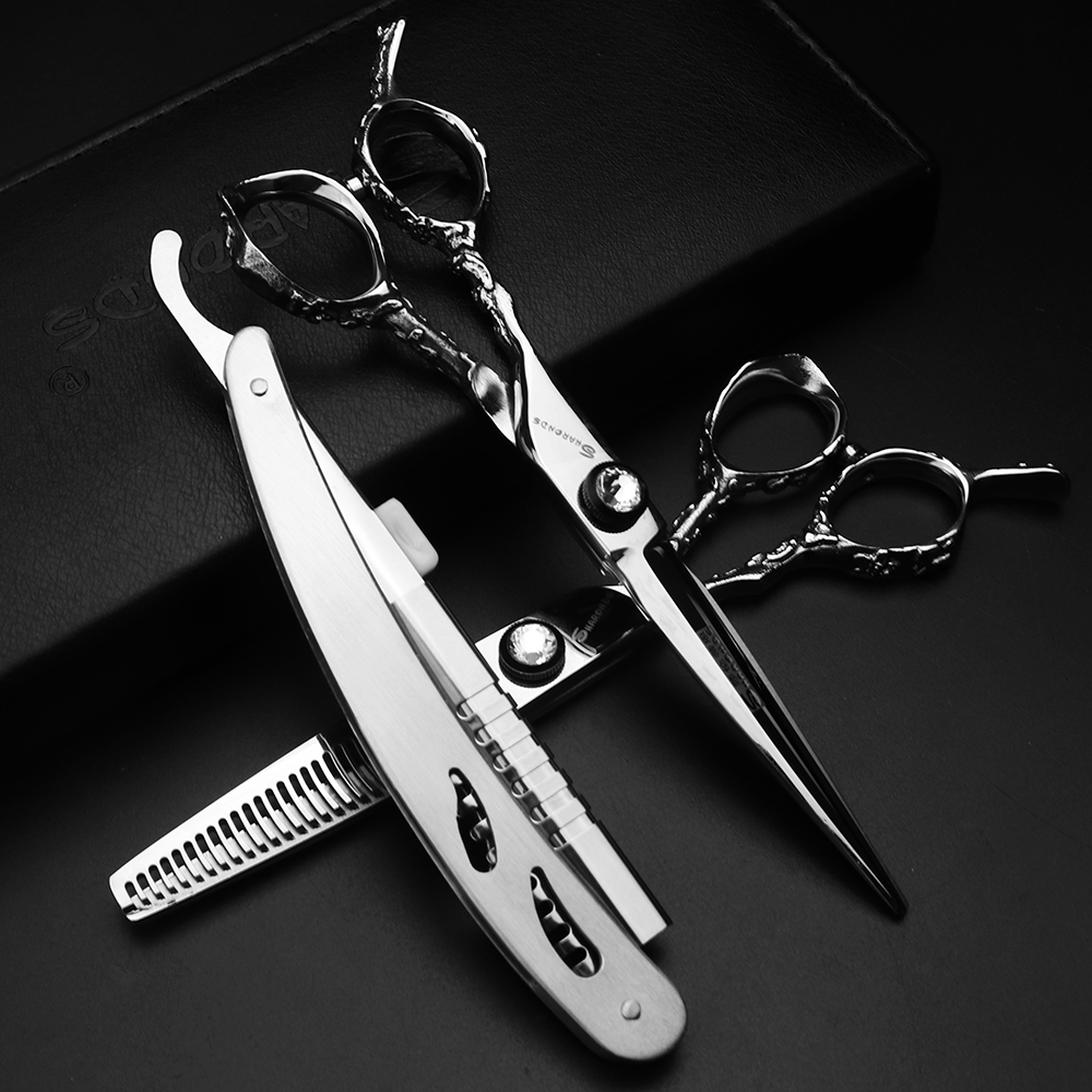 Japan Professionals Silver Left Hand Scissors  6 Inch  Thinning And Cutting Scissors  Hairdressing Scissors Very Sharp