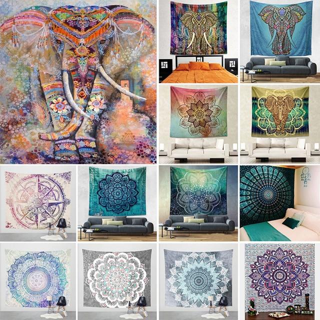 Decorative Mandala Elephant Wall Hanging Tapestry Bohemian Macrame Wall Blanket Cloth Wandkleed Home Decor Curtains Yoga Mat