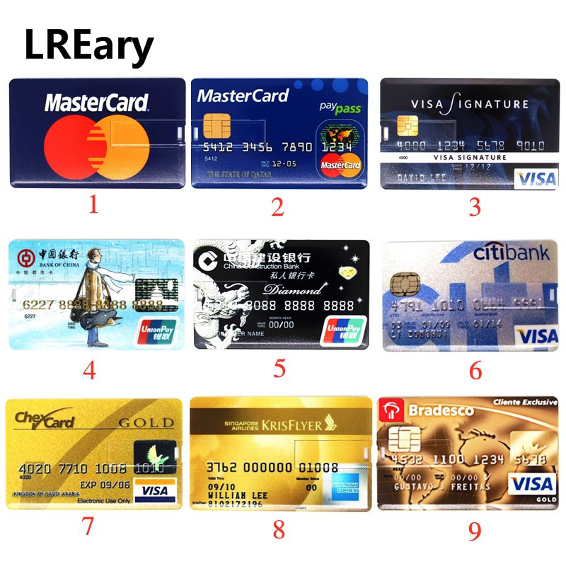 Super Thin Bank Card USB Memory Stick Citi Credit Cards USB Flash Drive 64gb Pendrive 4GB 8GB 16GB 32GB MasterCard Pen Drive