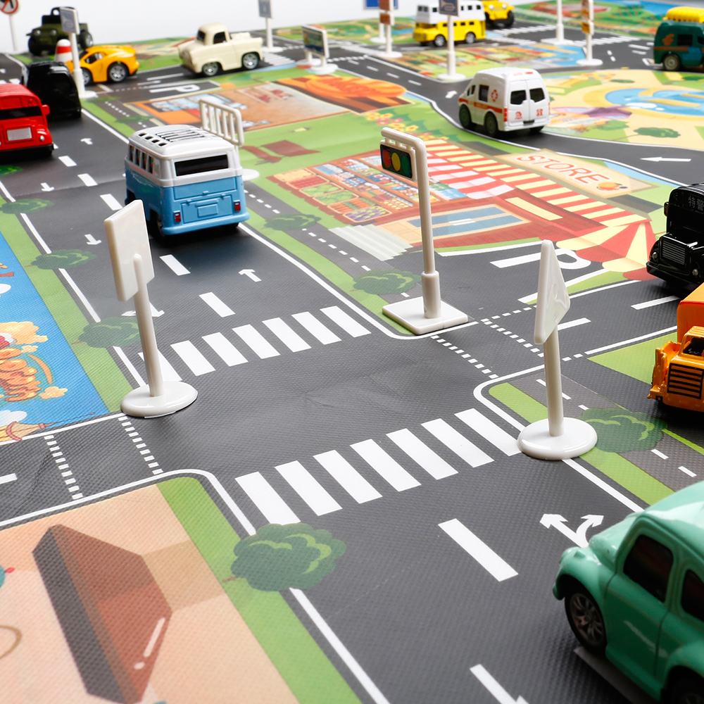Play Mats 130cmx100cm Baby Play Mat Traffic City Map Car Toys Model Crawling Mat Game Pad For Children Interactive Play House Toy Car Mat Strong Packing