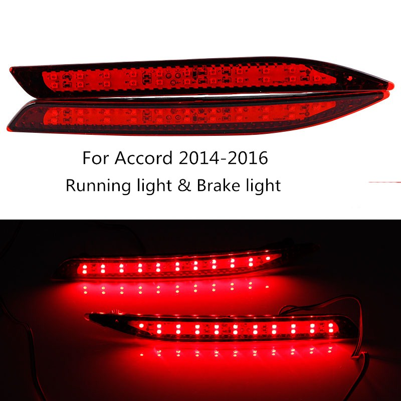 CYAN SOIL BAY Car LED Rear Bumper Reflector Red Parking Warning Stop Brake Light Tail Fog Lamp For Honda Accord 9th 2014-2016 2x led car styling red rear bumper reflector light fog parking warning brake tail lamp for toyota vellfire alphard 30 series