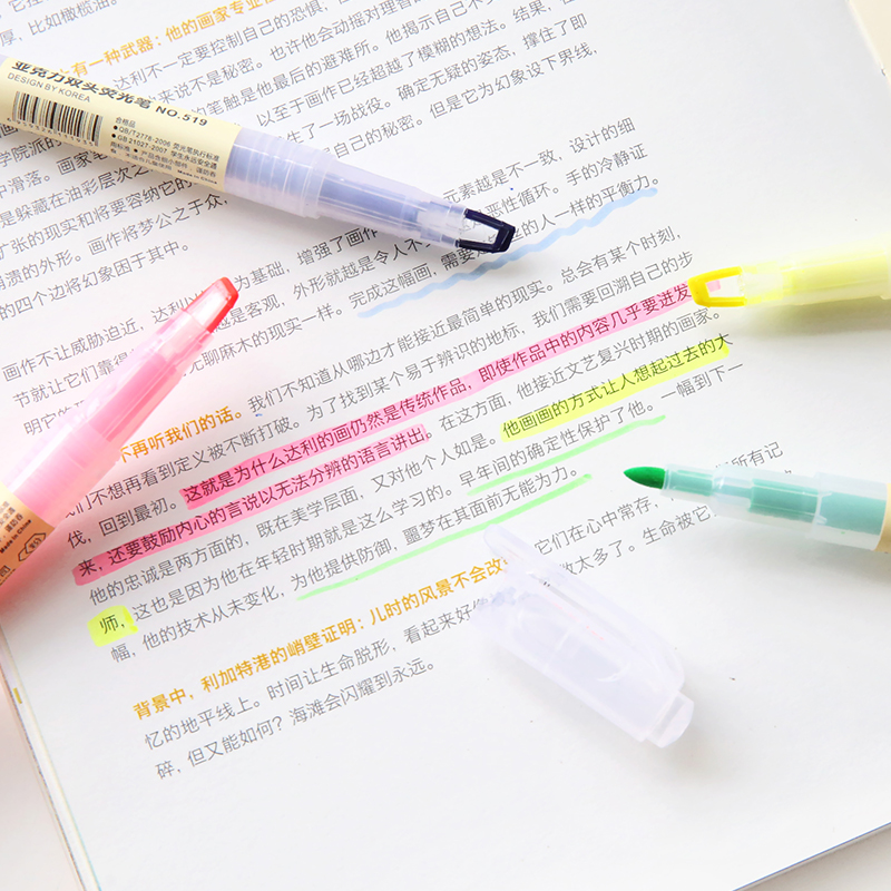 Korean Cute Highlighter Pen Candy Colors Notes Graffiti Double Head DIY Art Markers School Office Supplies Stationery 8 Colors