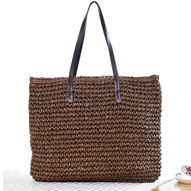 Women Handbag Summer Beach Bag Rattan Woven Handmade Knitted Straw Large Capacity Totes Leather Women Shoulder Bag Bohemia New 3