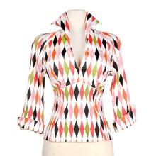 25-mujeres vintage 50s harlequin estampado cuello pico 3/4 manga pinup lauren Ropa de Trabajo top camisas de talla grande camisetas boothals camisa
