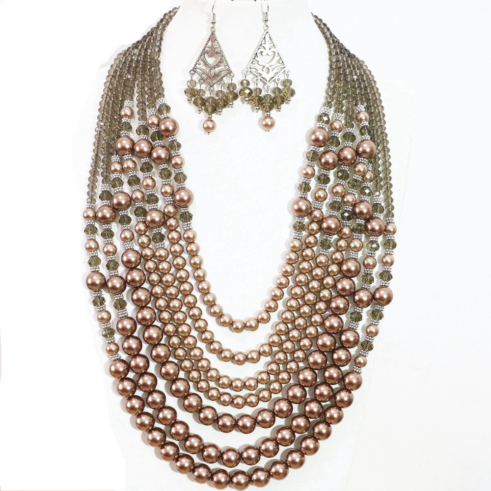Newly 7 rows necklace earrings champagne round faux shell pearl charms party weddings women fashion jewelry set B1305
