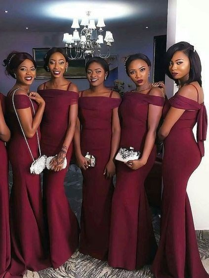 Burgundy 2019 Cheap   Bridesmaid     Dresses   Under 50 Mermaid Spaghetti Straps Satin Long Wedding Party   Dresses   For Women