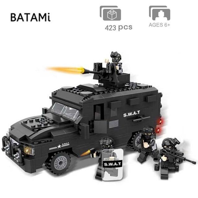 도시 빌딩 블록과 호환되는 모델 구축 키트 Swat 방폭 자동차 세트 423 pcs 4 벽돌 minfigures 장난감