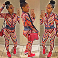 autumn 2016 sets for women two piece long pant sexy long sleeve print crop top bodycon 2 pieces set club causal party zipper