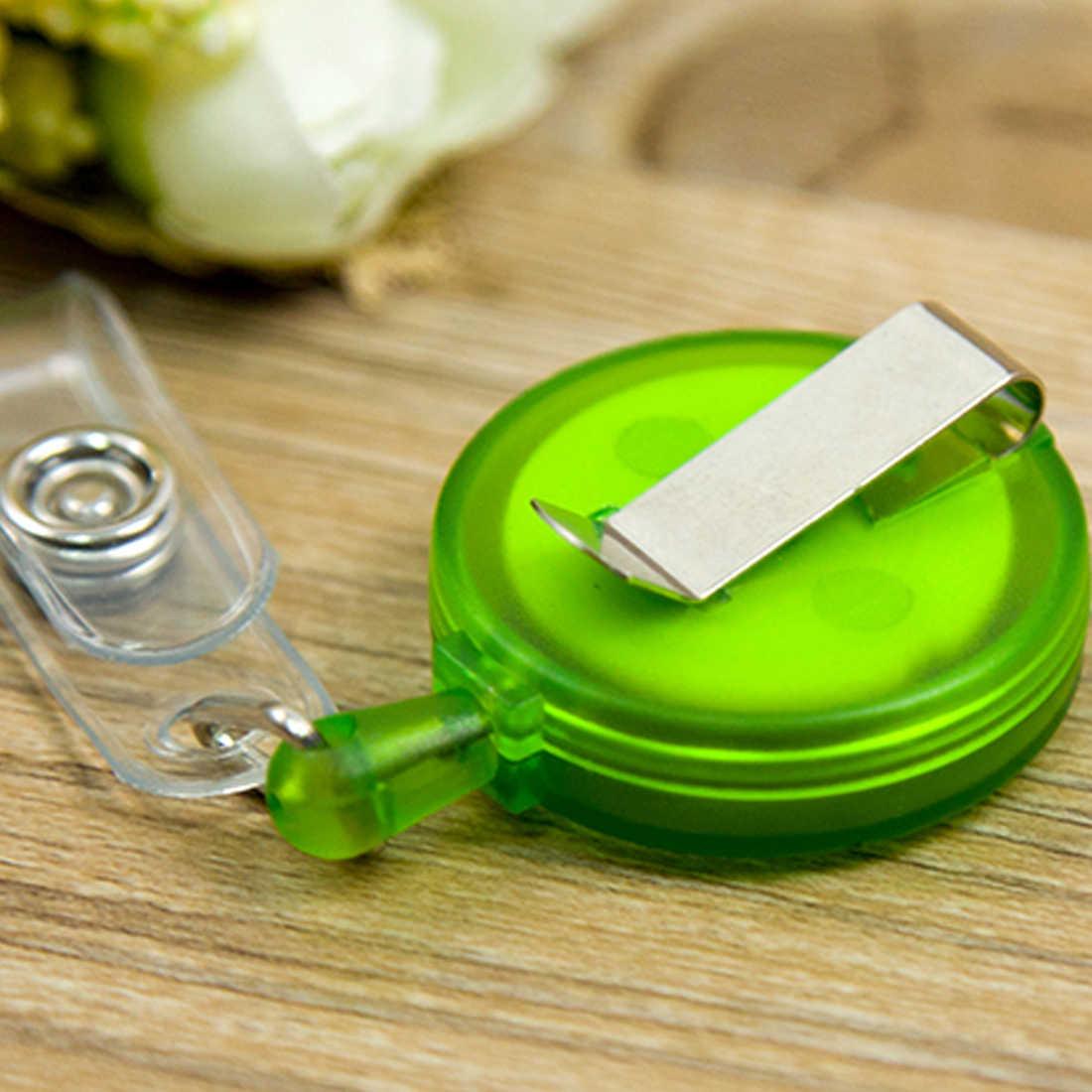 FangNymph компактный дизайн улыбающееся лицо ID держатель Имя тег карты ключ со значком выдвижной держатель круглый сплошной полупрозрачный ID держатель