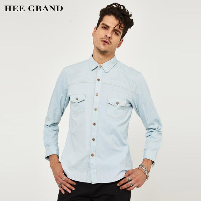 Hee grand 2017 hombres del estilo europeo de manga larga de algodón delgado color sólido camisa de la manera camisa mcl1556