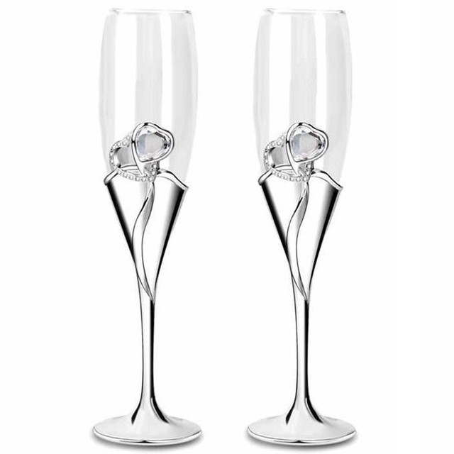 Us 59 79 Wine Glasses Set Champagne Glasses Wedding With Heart Crystal Pair Champagne Flutes Toasting Flutes Goblet Wedding Gift In Other Glass From
