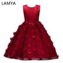 LAMYA Kids Flower Dress Butterfly Birthday Party Dresses Children Fancy Princess Ball Gown Wedding Clothes(China)