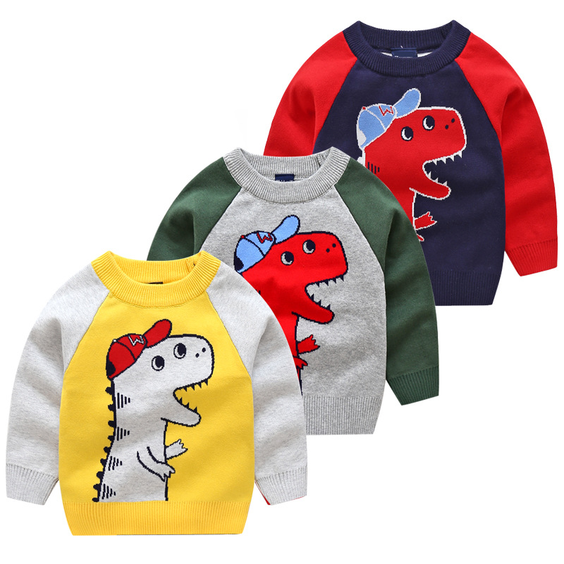 2018 Autumn Winter New Knitted Sweater Cartoon Dinosaur Baby Boys Sweaters Cotton Kids-pullover Sweater