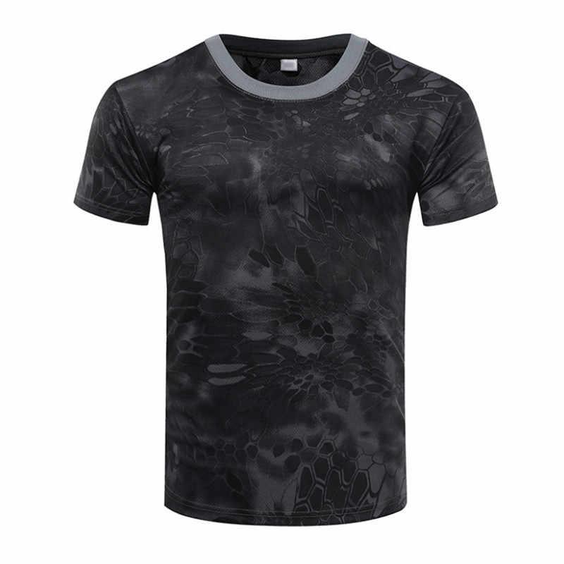 Camouflage T-Shirt Snel Droog Ademend Panty Leger Tactische T-shirt Mens Compressie T-shirt Fitness Running heren Sportkleding
