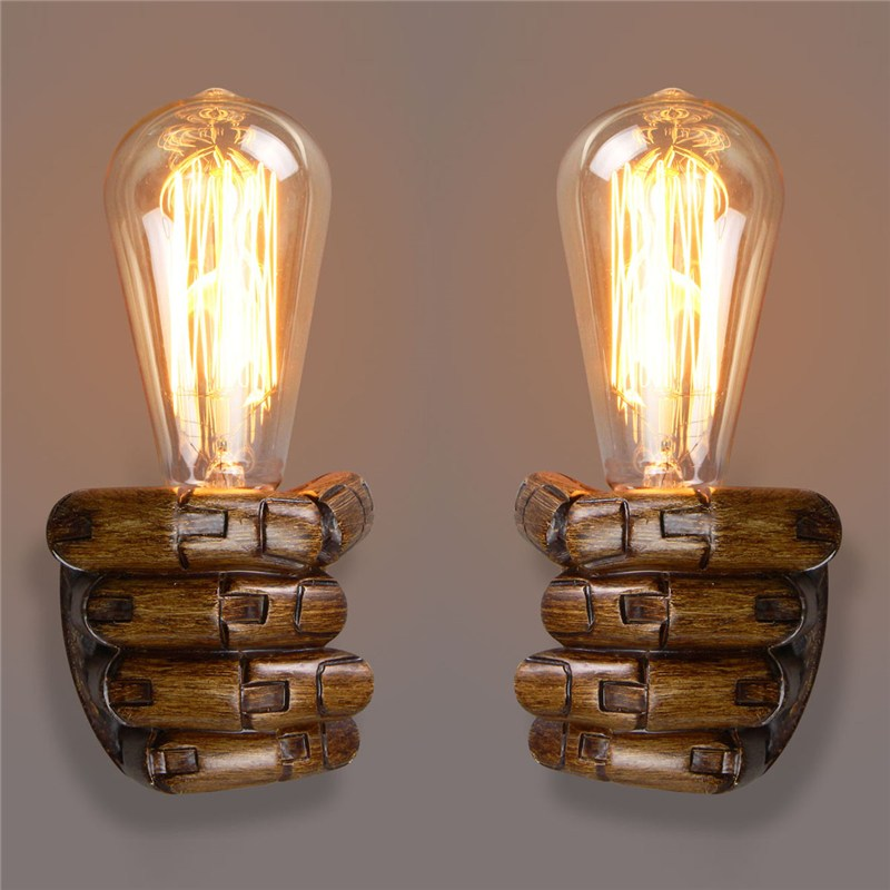 Antique Right Left Hand Night Wall Light Lamp E27 Edison Bulbs Bar Coffee Shop Loft Study Foyer Dining Room Home Decor loft american edison vintage industry crystal glass box wall lamp cafe bar coffee shop hall store club