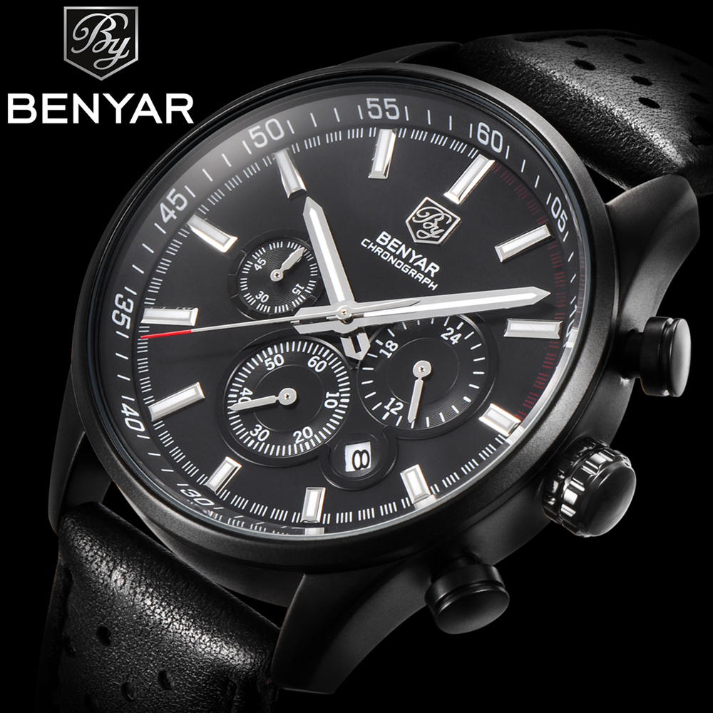Benyar Mens Watch Top Brand Luxury Male Leather Waterproof Sport Quartz Chronograph Military Watches Men Clock Relogio Masculino police steampunk pl 14693jsb 12a