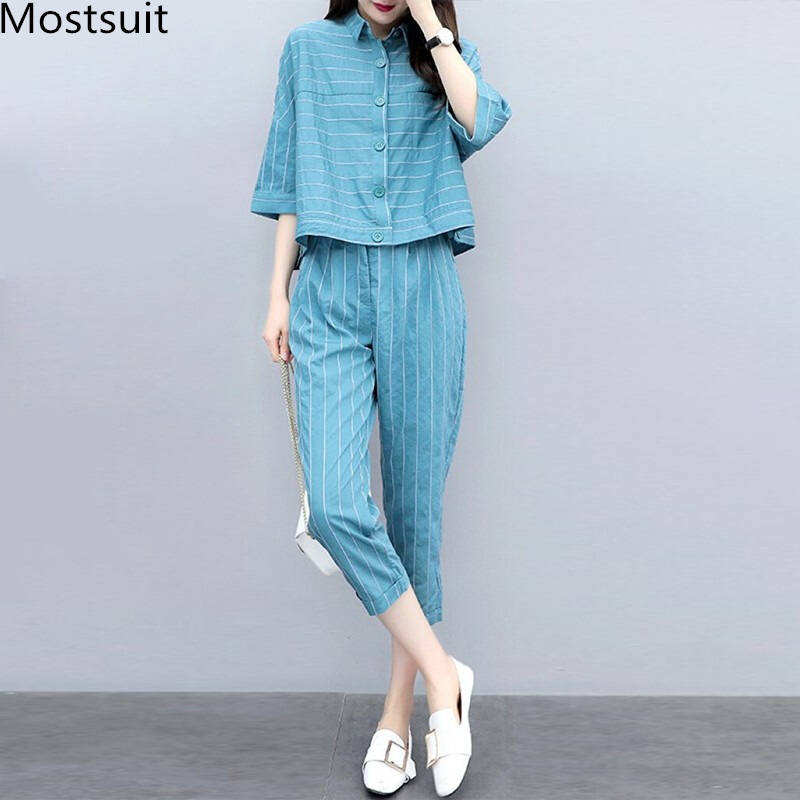 2019 Summer Blue Striped Two Piece Sets Outfits Women Plus Size 3/4 Sleeve Shirts And Cropped Pants Suits Casual Elegant Sets 25