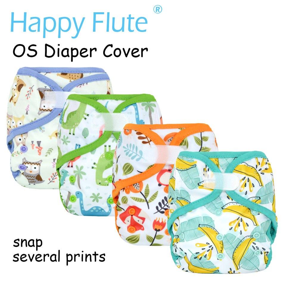 Feliz flauta OS bebé pañal de tela cubierta con o sin bambú insertar impermeable y transpirable, S, M y L ajustable ajuste 5-15 kg bebé