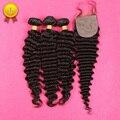 Peruvian Deep Wave With Silk Base Closure 7A Peruvian Virgin Hair 3 Bundles With Closure Deep Curly Virgin Hair With Closure