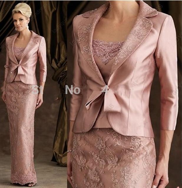 Longo elegante Formal mãe da noiva Pant ternos de renda mãe dos vestidos de noiva com jaqueta de cetim noivo casamentos 2015