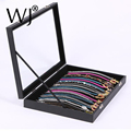 Superior Gray Velvet/Wooden Portable Jewelry Display Tray Case Box Necklace Pendant Chain Storage Holder Organizer With Cover