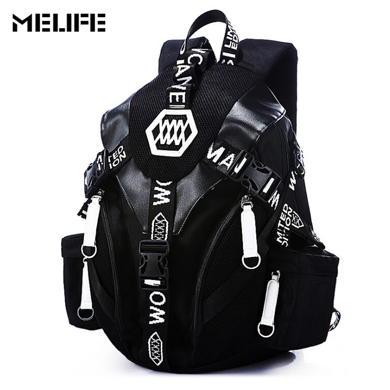 MELIFE Men& Women Laptop Backpack Oxford Rucksack School Bag Travel Waterproof Backpacks Men Fashion Notebook Computer Bag Black