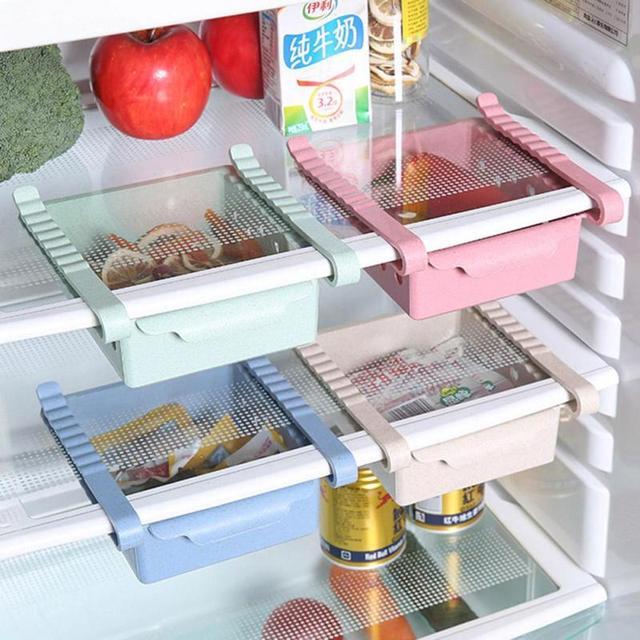 Plastic Slide Kitchen Fridge Freezer E Saver Organization Storage Rack Refrigerator Organizer Fruit Snack Drawer Holder