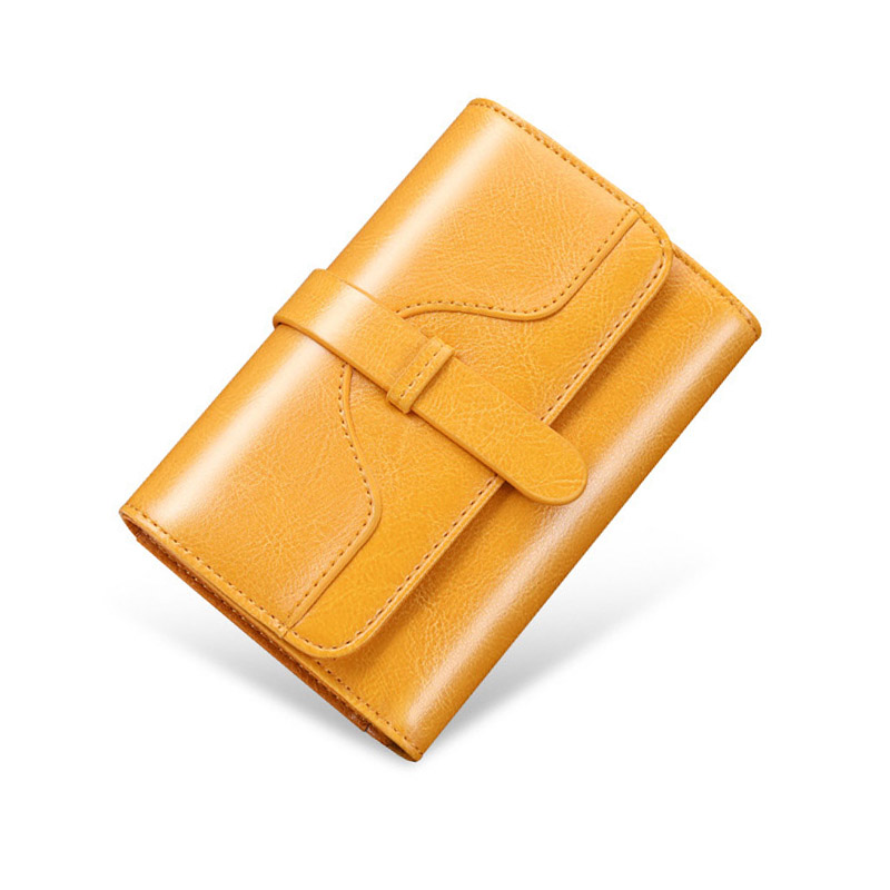 Short Genuine Leather Women Wallet Fashion Female Small Wallet Money Bag Lady Mini Card Holder Coin Purse Women Wallets Yellow