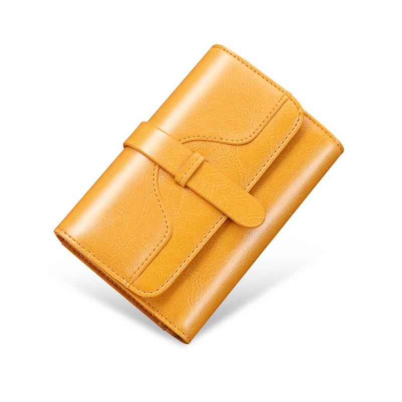 Carteira de Couro Bolsa de Dinheiro Titular do Cartão Bolsa de Moedas Longa de Feminina Genuíno Curto Moda Feminina Pequena Carteira Senhora Mini Carteiras Femininas Amarelo