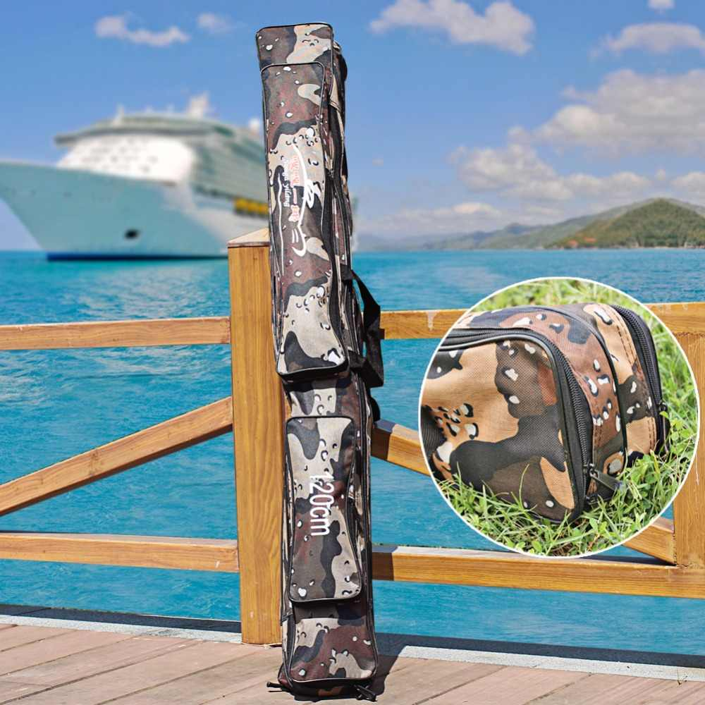 Sougayilang גדול קיבולת דיג תיק 120cm אפור הסוואה חיצוני 2 שכבה קרס דיג תיק חכת דיג פתיונות תיק רב שימוש