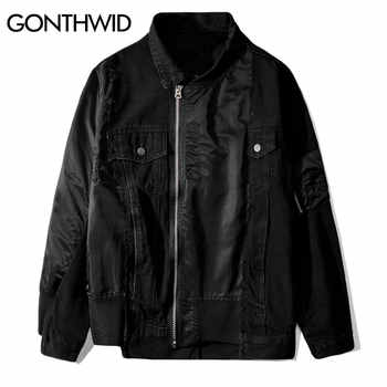 GONTHWID Patchwork Zip Up Denim Jackets Hip Hop Hipster Punk Rock Denim Jeans Jacket Outwear Motorcycle Jacket Coat Streetwear