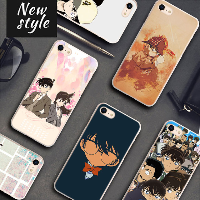 BiNFUL Detective Conan Pattern Transparent frame Hard Phone Cases Cover for Apple iPhone 7 8 7Plus X 6 6s 6Plus 5 5S 4S