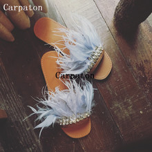2017 Summer New Style Flat Slippers Women Crystal Feather Decoration New Fashion Sandals Slides Ladies Casual Shoes