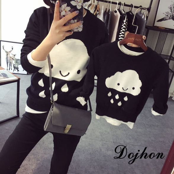 HOT Parent-child Outfits Cloud Family Look Sweaters Family Matching Outfits Mother & kids Knit Shirts for Mother Son Girls Boy