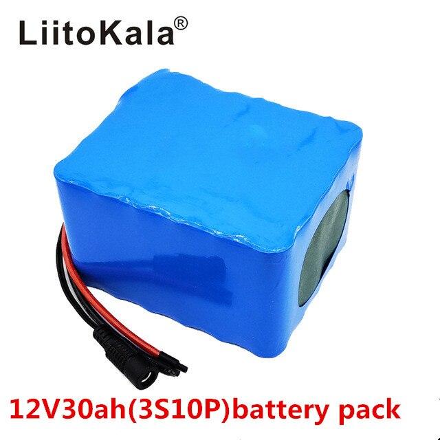 LiitoKala 12V 30Ah 3S12P 11.1V 12.6V High power Lithium Battery Pack for Inverter Xenon Lamp Solar Street Light Sightseeing Car-in Battery Packs from Consumer Electronics