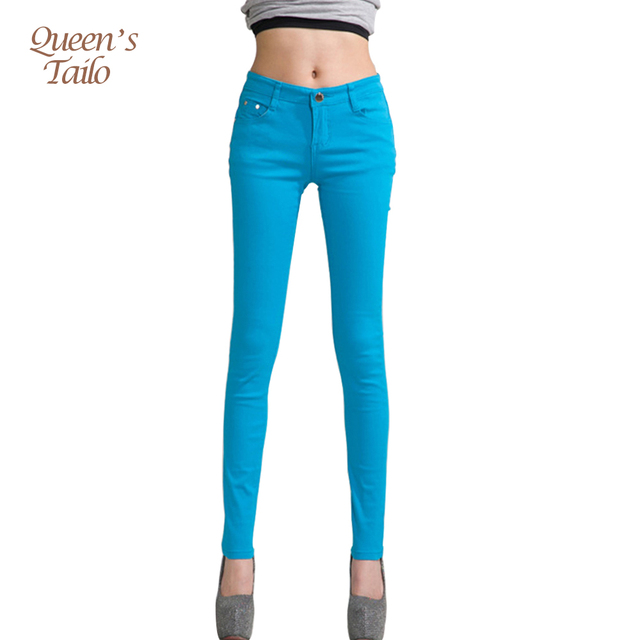 Women Pants Candy Jeans 2018 Spring Fall Pencil Pants Slim Casual Female Stretch Trousers White Jean pantalones mujer 2