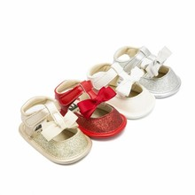 Summer New Shiny Bow Princess Sandals Breathable Comfortable Toddler Shoes Non-Slip Soft Baby