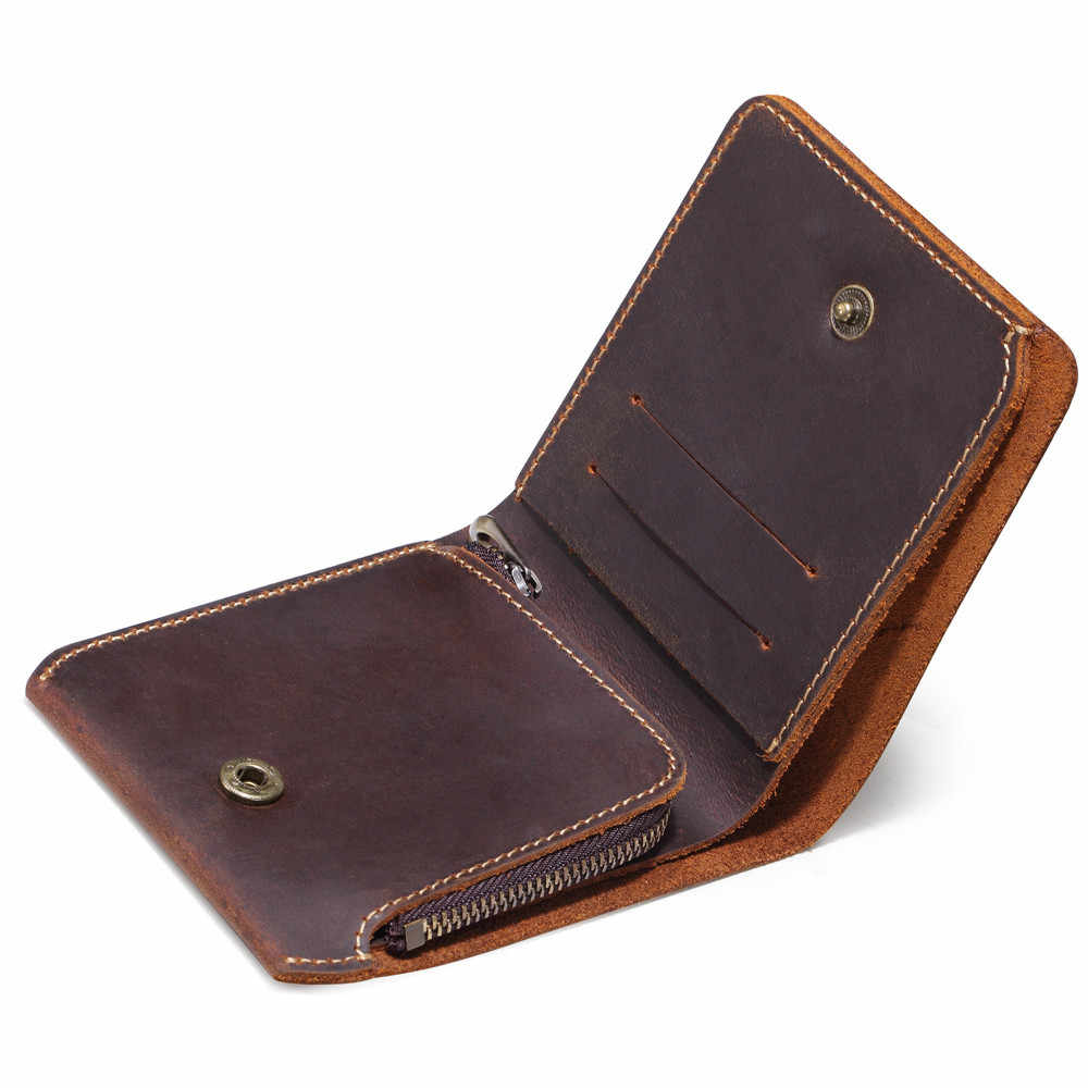 Vintage Men Leather Wallet with Zipper Coin Pocket Handmade Short Genuine Leather Purse for Male Creative Design 2018 New
