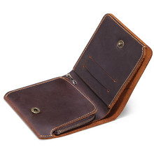 Vintage Men Leather Wallet with Zipper Coin Pocket Handmade
