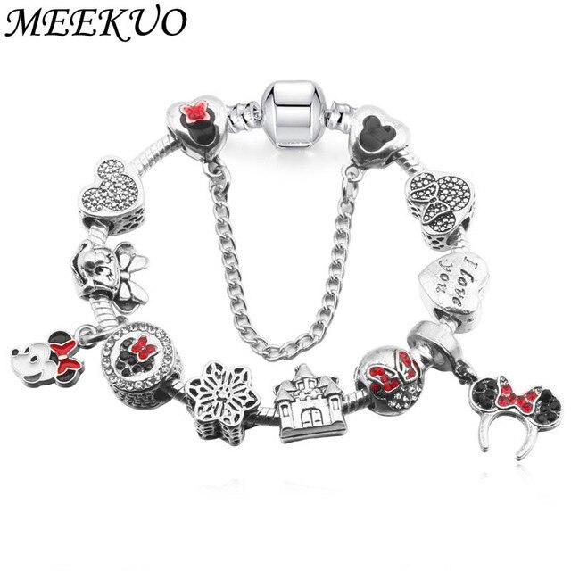 Enamel Mickey Minnie Charms Bracelets & Bangles For Women Men Handmade Chain Fri