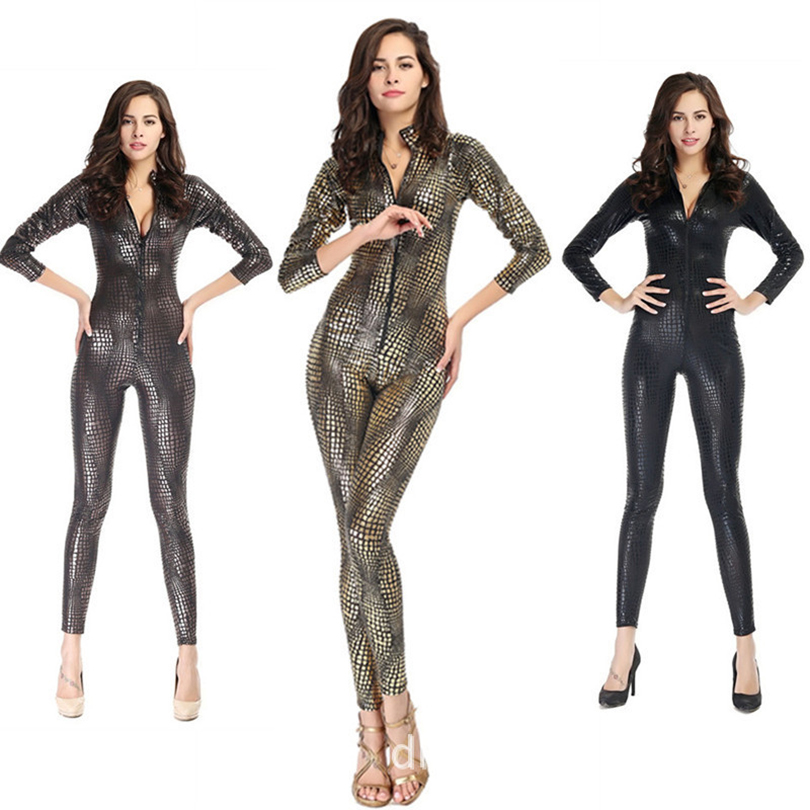 Black/Gray/Gold Fashion Sexy Women Snakeskin Catsuit With Zipper Costume Faux Leather Jumpsuit Superwomen Cosplay Latex Bodysuit